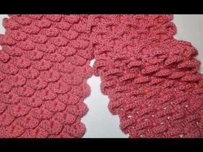 Uncinetto crochet sciarpa punto coccodrillo squame tutorial