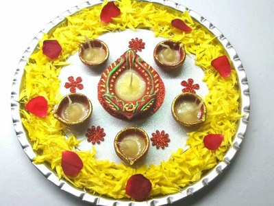 How to Decorate Pooja Thali. Simple and Easy Decoration Pooja Thali. Beautiful Pooja Thali.