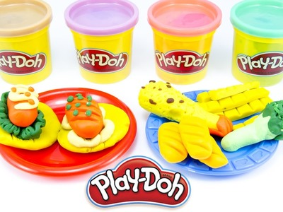 Play-Doh Foods Creations How to Make Potato Chips and Sausage with Play Doh