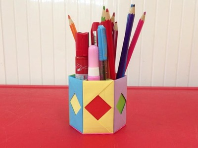 How to make a paper pencil holder | Easy origami pen holder for beginners making | DIY-Paper Crafts