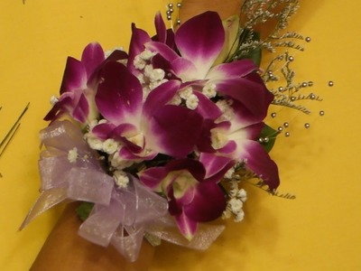 How to make a wrist corsage with dendrobium orchids