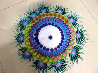How to make beautiful diwali rangoli design created by  rangolidesigns