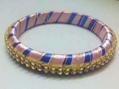 How to make double coloured bangle with satin ribbon-TUTORIAL