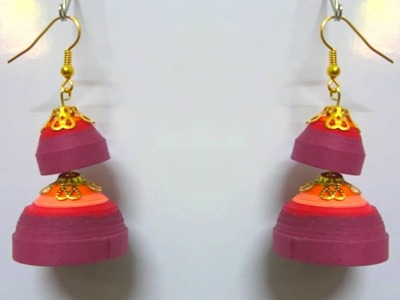 How to make Quilling Earrings paper Quilling jumka making tutorial