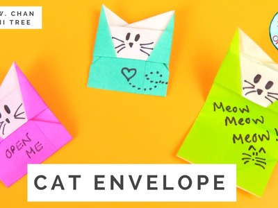 Origami Cat Envelope Tutorial - How to Make An Envelope from Paper With A Message (No Cards Needed)