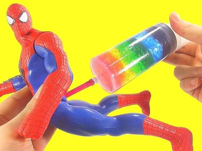 Spiderman Superhero DIY How To Make Syringe Slime Clay Learn Colors Surprise Eggs Toys Finger Family