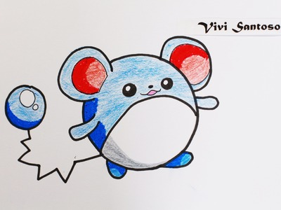 63 : How to Draw Pokemon Aqua Mouse MARILL ☆ Step by Step ☆ Cara Gambar ☆ Como Dibujar Paso a Paso