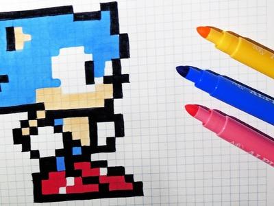 Handmade Pixel Art - How To Draw Kawaii Sonic #pixelart