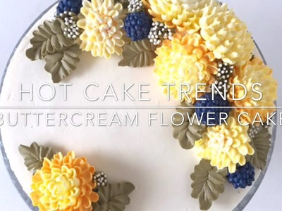 HOT CAKE TRENDS 2016 Buttercream chrysanthemums and berries cake - How to make by Olga Zaytseva