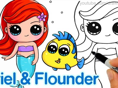 How to Draw 'Baby' Ariel and Flounder step by step Easy -Disney Little Mermaid
