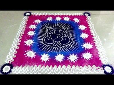 How to draw beautiful ganpati rangoli design   created by fun to learn