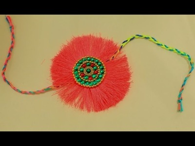 How to make A Very Simple & Beautiful Silk Thread Rakhi at home(Step By Step)