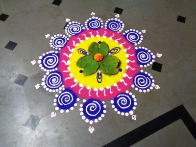 How to make dussehra special rangoli design - created by latest rangoli