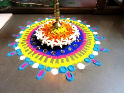 How to make mahalaxmi poojan rangoli design - created by latest rangoli