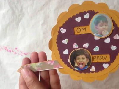 How To Make Pull Tab Slider Card For Scrapbook | Birthday Slider Card | Craftlas