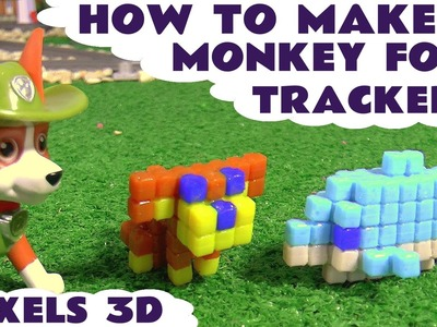 How To Make Qixels 3D | A Monkey for Paw Patrol Tracker and a Dolphin for Crush Toys Unboxing