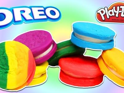 How to Make RAINBOW Play Doh Oreo Cookie Treats DIY Fun & Easy Play Dough Art!