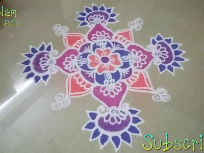 How to make rangoli designs with colours on floor step by step - New kolam designs!