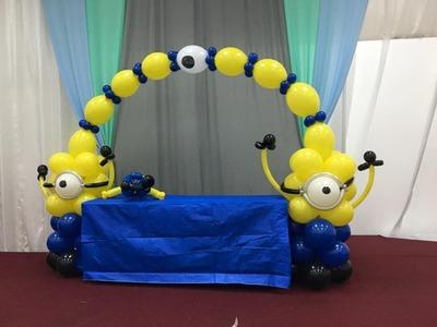 How to Minion Balloon Decoration Arch column centerpiece Tutorial