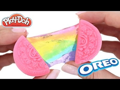 Play Doh Oreo Cookies How to Make Rainbow Slime Cookies * Surprise Toys * RainbowLearning