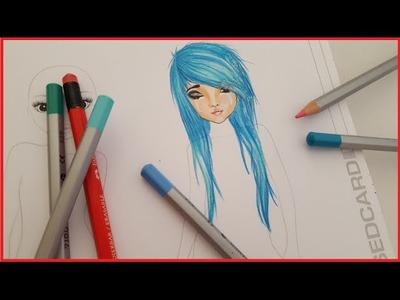 Topmodel Malbuch   How to draw Emo Hair   Scene Frisur malen   Copics    Foxy Draws
