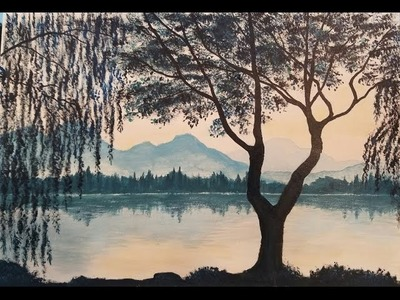 Weeping Willow Acrylic Painting Tutorial | How to Paint Trees and Water Reflections | LIVE