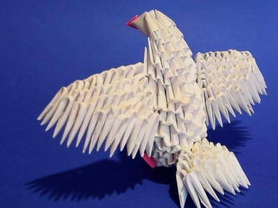 3D origami bird baby dove pigeon of paper tutorial