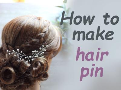 DIY Bridal Hair vine pin with Rhinestones  Pearls Accessory Headpiece Hazlo tu mismo