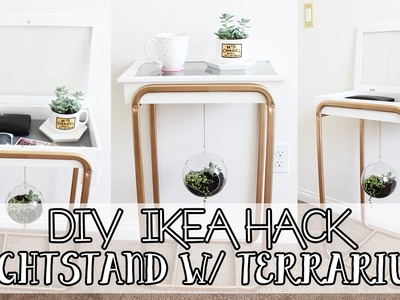 DIY Room Decor - Nightstand with Hanging Glass Terrarium | IKEA HACK