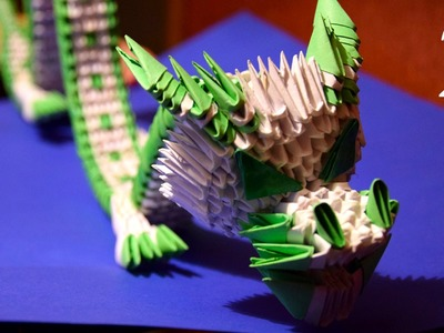 3D origami green Chinese dragon of paper tutorial part 2