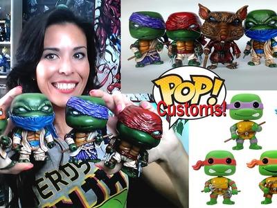 Custom Funko Pop Teenage Mutant Ninja Turtles Set ( DIY -ed hand painted and sculpted vinyl set )