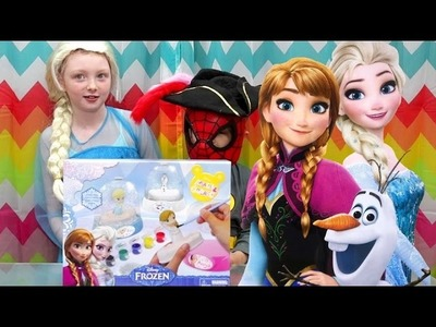 Disney FROZEN GLITTER DOMES DIY How to Paint Princess Anna Elsa Snow Glitter Globes Learn Colors !