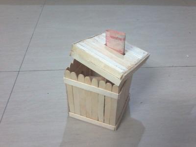 DIY: How to make Money Bank. Piggy bank using Ice cream sticks. popsicle sticks