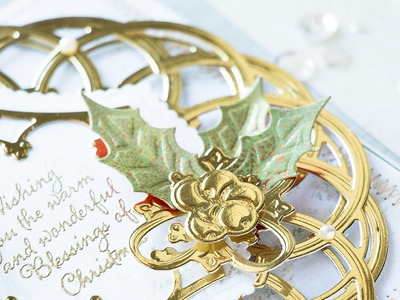 Elegant Layered Christmas Card with Holly Leaves