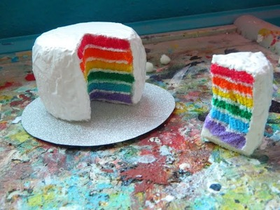 Mini rainbow cake squishy tutorial