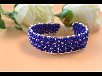 Pandahall Video Tutorial on Making a Blue 2 hole Seed Bead Flower Bracelet for Summer