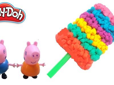 PLAY-DOH RAINBOW ICE CREAM CAKE ! Make Lollipop Rainbow Playdoh With Peppa Pig Toys Part 1
