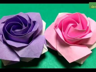 Quick and easy to make origami rose sato - Pentagon rose origami tutorial - Origami Flower