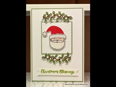 Santa & Holly Christmas Card - JanB UK Stampin' Up! Demonstrator Independent