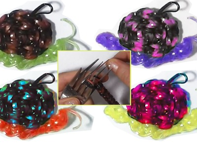 Snail with loom bands or rubber bands with two forks without rainbow loom figures charms animals