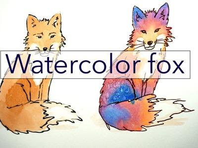 Watercolor Fox Tutorial - Rainbow Fox