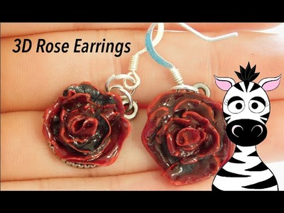 3D Rose Acrylic Earrings Nail Art Design Tutorial