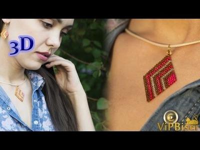 Beaded Pendant&Earrings Rhomb. 3D Beading Tutorial