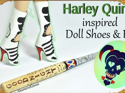 DIY Barbie. Doll Harley Quinn inspired shoes. boots & bat