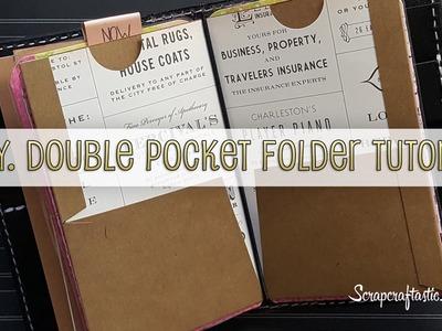 DIY Double Pocket Folder for Pocket Size Midori.Fauxdori Style Traveler's Notebook