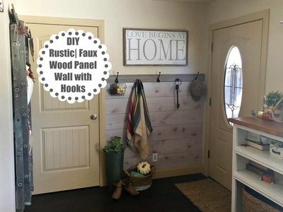 DIY Faux Wood Panel Wall with Hooks