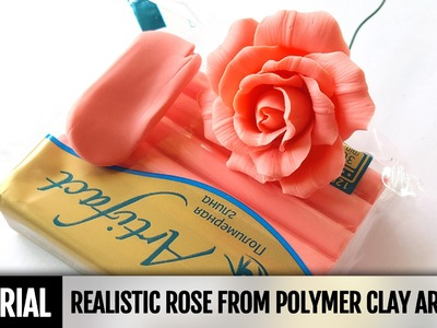 DIY How to make Realistic Rose Flowers from polymer clay. Detailed Flower Video Tutorial
