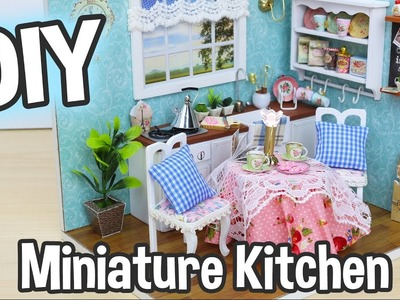 DIY Miniature Dollhouse Kit Cute Kitchen Room with Working Lights!. Relaxing Craft
