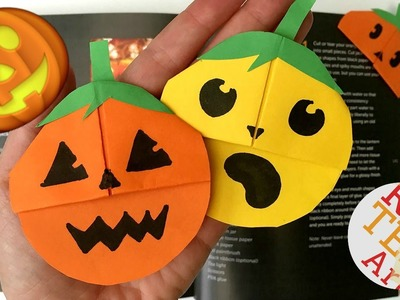 Easy Pumpkin Emoji Bookmark - Jack O'Lantern DIY - Halloween Paper Craft