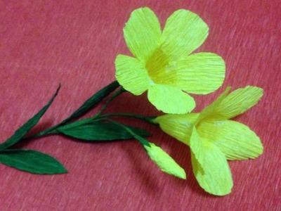 How to Make Allamanda Crepe Paper flowers - Flower Making of Crepe Paper - Paper Flower Tutorial